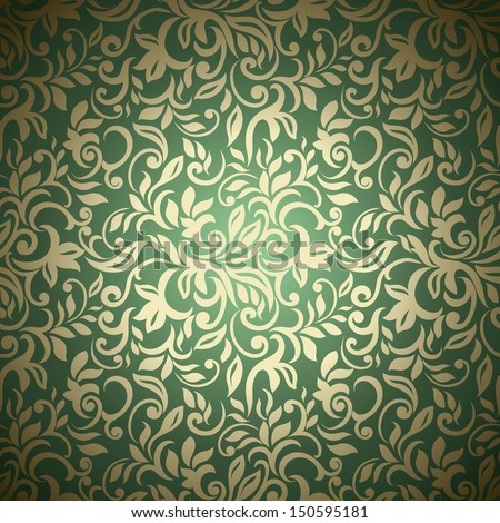 Seamless abstract floral pattern, golden-green style - stock vector