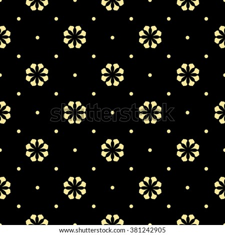 Seamless abstract floral pattern. Vector background. Gold and black ornament - stock vector