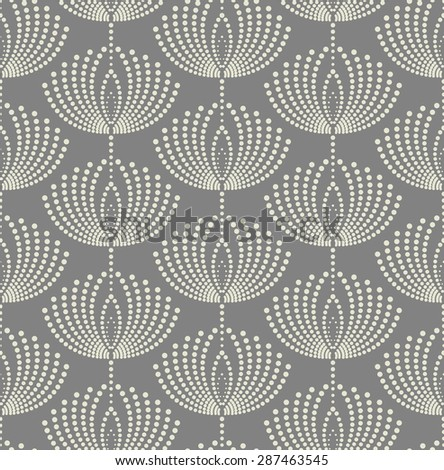 Seamless abstract floral pattern. Vector gray and white background. - stock vector