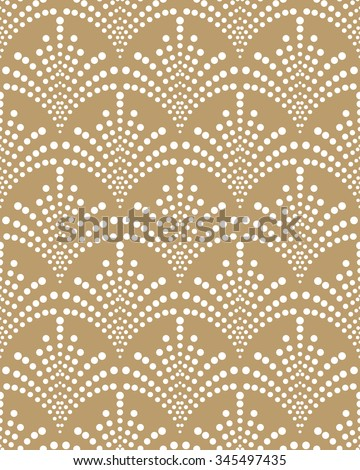 Seamless abstract floral pattern with dots. Vector  background. Geometric leaf ornament. - stock vector