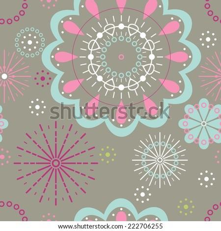 seamless abstract flower design - stock vector