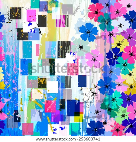 seamless abstract flowers pattern, vector illustration - stock vector