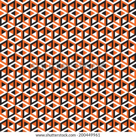 Seamless Abstract Geometric Cubes Optical Illusion Pattern - stock vector