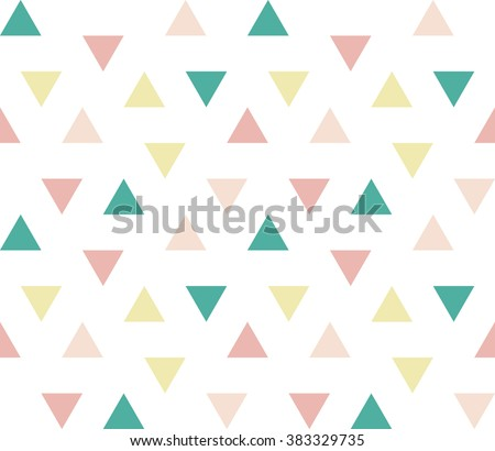 Seamless abstract geometric ornament of colorful triangles on white background.  Triangular geometrical pattern. Vector illustration. - stock vector