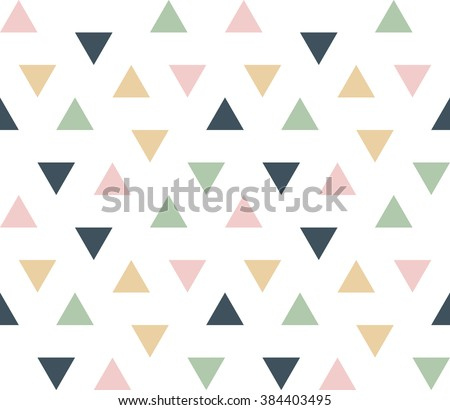 Seamless abstract geometric ornament of colorful triangles on white background.  Triangular infinity geometric pattern. Vector illustration. - stock vector