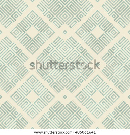 Seamless abstract geometric pattern in turquoise and beige on texture background. Ethnic pattern. Can be used for ceramic tile, wallpaper, linoleum, surface textures, web page background.  - stock vector