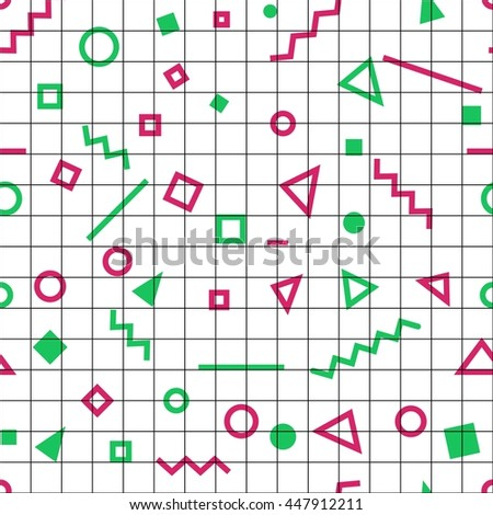 Seamless abstract geometric pattern. Memphis group style