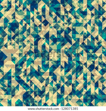 Seamless abstract geometric pattern with triangles and grungy noise, vector illustration - stock vector