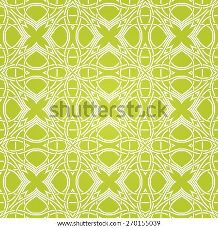 Seamless abstract green pattern with ornament. Vector illustration