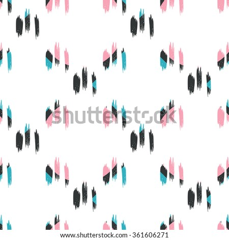 Seamless abstract hand drawn brushstroke shapes pastel colored pattern texture . Simple modern geometric chevron print in vector Hand drawn hipster stylish pattern .  - stock vector