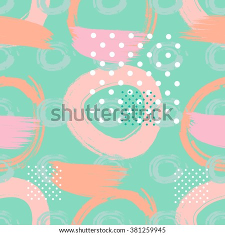 Seamless abstract hand drawn brushstroke shapes  pattern texture . Simple modern geometric chevron print in vector Hand drawn hipster stylish pattern .  - stock vector