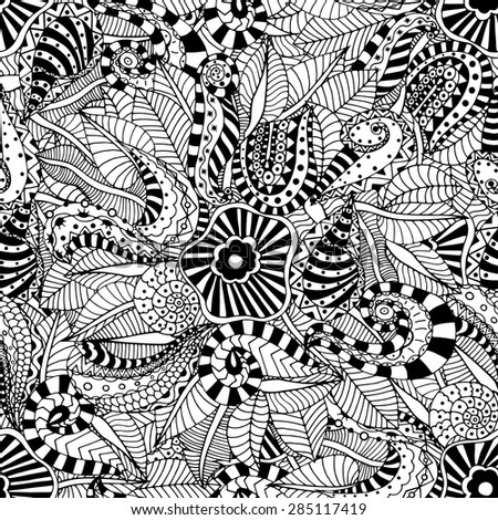 Seamless abstract hand-drawn floral pattern. Vector illustration - stock vector