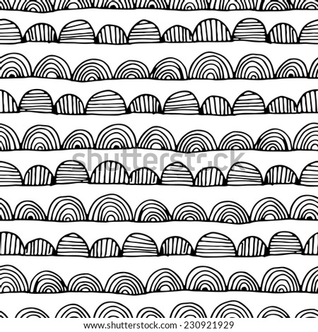 Seamless abstract hand drawn pattern. Black and white. Vector illustration - stock vector