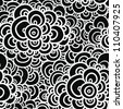 seamless abstract hand-drawn pattern, clouds background. black-white - stock vector