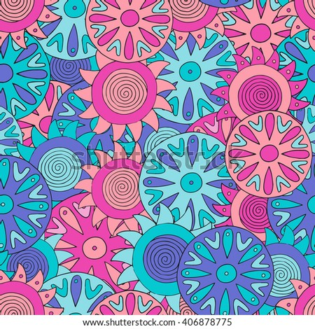 Seamless abstract hand-drawn pattern with colorful circles