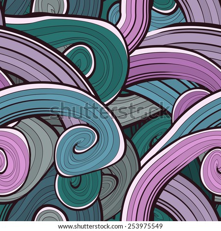 Seamless abstract hand drawn waves pattern. Wavy background. Ocean background. Background design in pastel colours. Vintage design. Seamless floral pattern can be used for web, wallpaper - stock vector