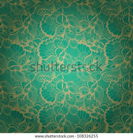 Seamless abstract hand-drawn waves pattern, wavy background. Seamless pattern can be used for wallpaper, pattern fills, web page background,surface textures. Gorgeous seamless floral background - stock vector