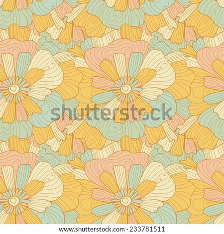 Seamless abstract orange hand-drawn waves and flowers pattern, wavy background. Seamless pattern can be used for wallpaper, pattern fills, web page background,surface textures. - stock vector