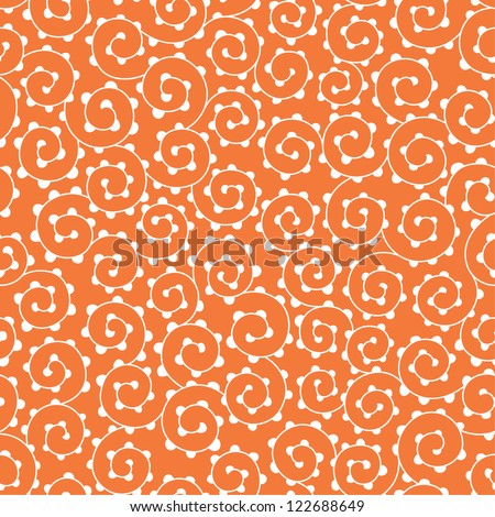 Seamless abstract orange pattern with swirls. Vector illustration - stock vector