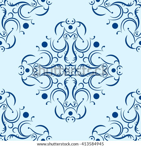 Seamless abstract ornament background. Vector Illustration. Pattern fill included.