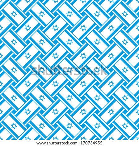 Seamless abstract pattern made with Israel flag - stock vector