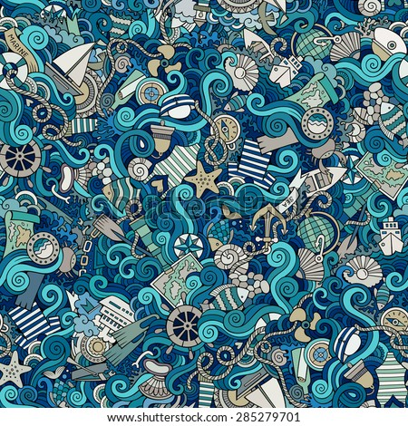 Seamless abstract pattern nautical and marine background - stock vector