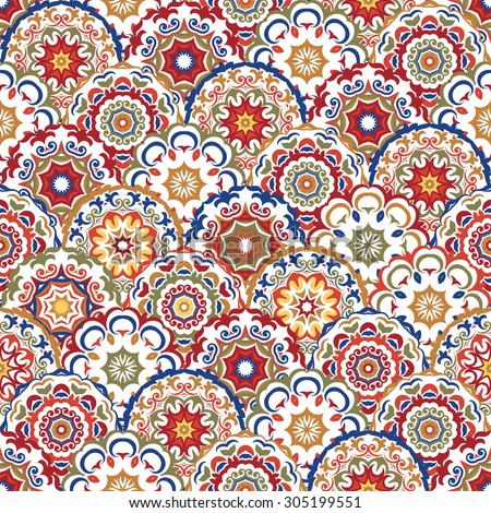 Seamless abstract pattern of modern colored abstract floral circles. Can be used for wallpaper, surface textures, textile etc.