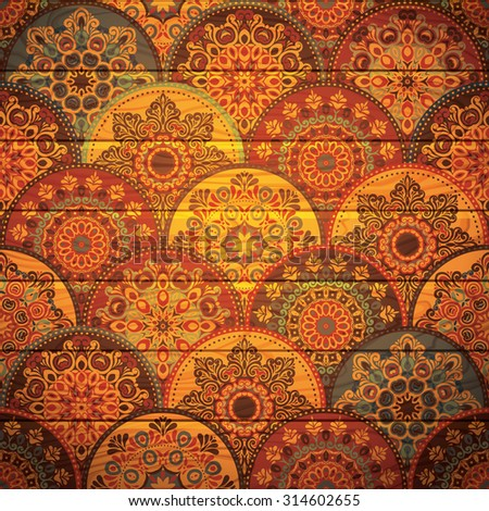 Seamless abstract pattern of trendy colored abstract floral circles. Can be used for wallpaper, surface textures, textile etc. Summer-Autumn Design, Wood texture