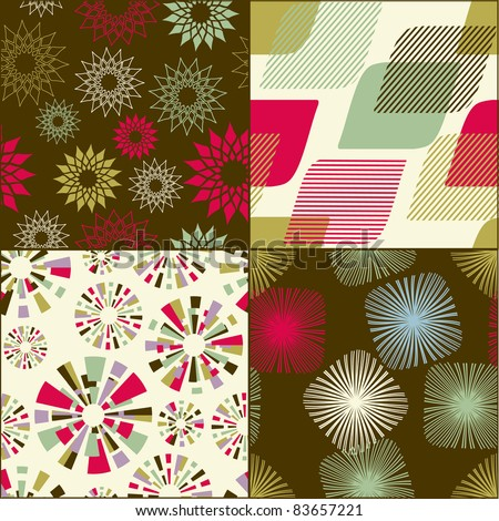 Seamless abstract  pattern set for fabric and furniture. - stock vector