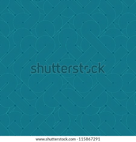 Seamless abstract pattern. Twisted lines. Green. Vector illustration - stock vector