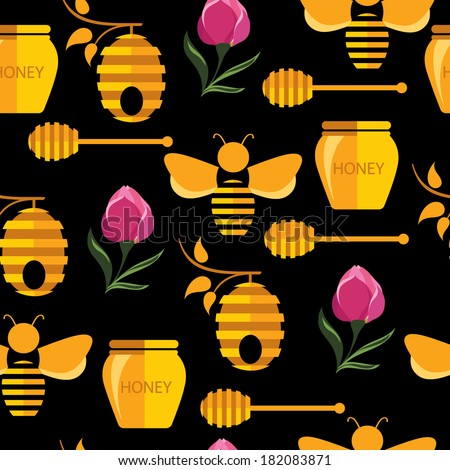 Seamless abstract pattern with bee and honey.
