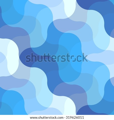 Seamless abstract pattern with blue waves - stock vector
