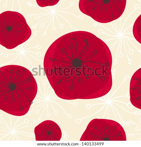 Seamless abstract pattern with flowers in red, black and beige. - stock vector