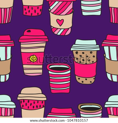 Seamless Abstract Pattern With Paper Cups Textile Fabric Wallpaper Cover