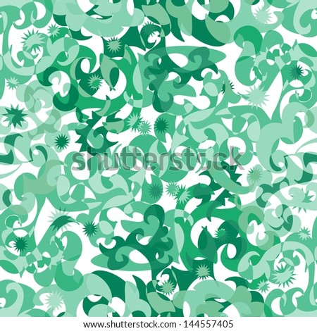 Seamless abstract pattern with swirl green ornaments