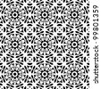 Seamless abstract retro floral black and white pattern background vector illustration - stock vector
