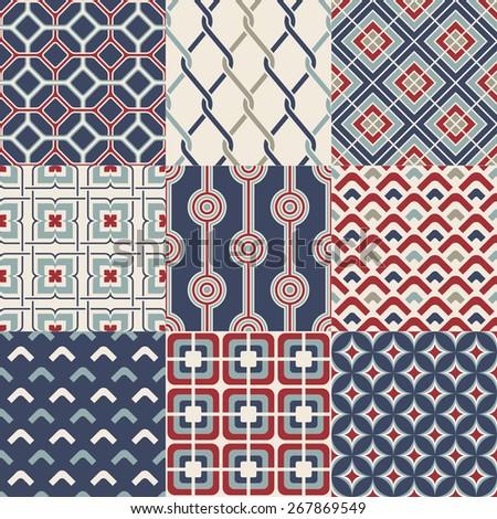 seamless abstract retro geometric pattern set - stock vector