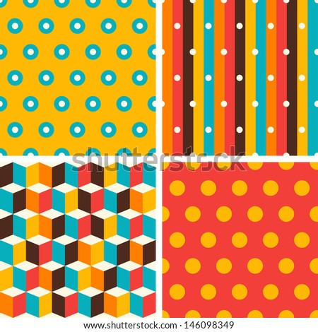 Seamless abstract retro geometric patterns set. - stock vector