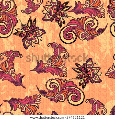 Seamless abstract retro pattern with decorative floral elements in warm colors - stock vector