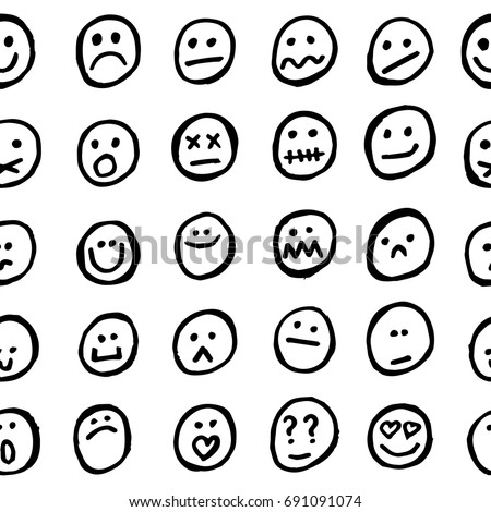 Seamless Abstract Vector Funny Pattern. Black Hand Drawn Linear Silhouettes  Of Funny And Cute Smiley