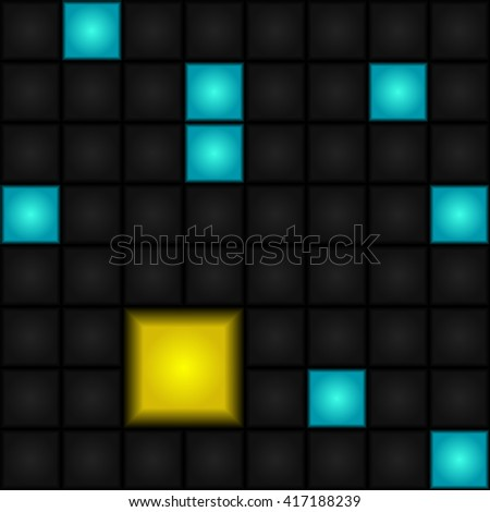 Seamless, abstract, vector pattern - blue, gray and yellow squares. LED-Display. Retro. - stock vector