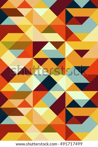 Seamless abstract vector pattern in vintage colors - geometric triangle mosaic background