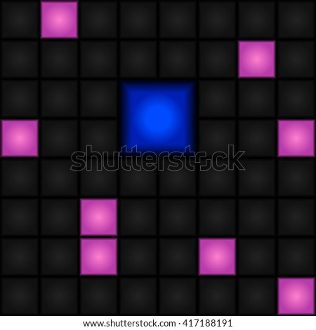 Seamless abstract vector pattern - pink, gray and blue squares. LED-Display. Retro. - stock vector