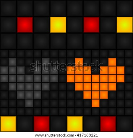 Seamless, abstract, vector, pixel pattern with red and gray hearts. Vector. LED-Display. Retro. - stock vector