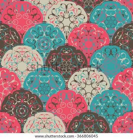 Seamless abstract wallpaper of bright circles. Can be used for invitation cards, textures, textile etc. Retro Design
