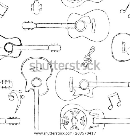 Seamless acoustic guitar and bass guitar sketch pattern  - stock vector