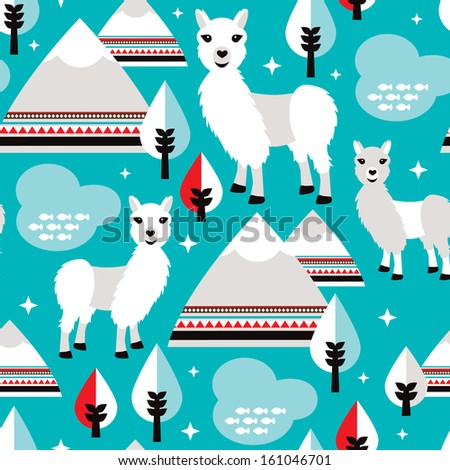 Seamless adorable aztec lama living in a winter wonderland background pattern in vector - stock vector