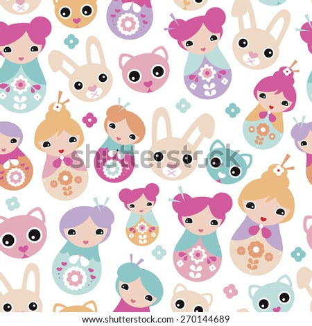 Seamless adorable Japanese geisha girls bunny cats and cherry blossom illustration background pattern for kids in vector - stock vector