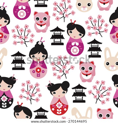 Seamless adorable japanese geisha girls temple cats and cherry blossom illustration background pattern in vector - stock vector