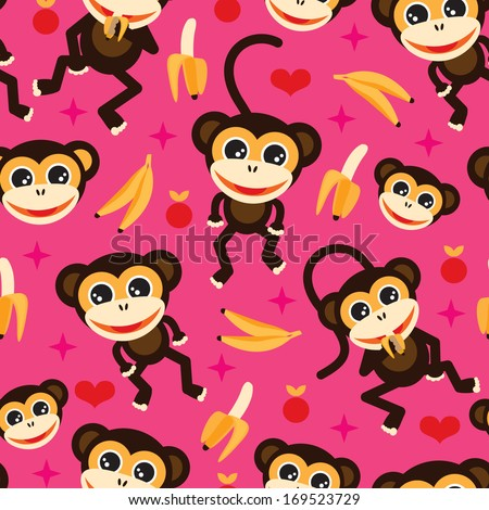 Seamless adorable kids monkey and banana illustration background pattern in vector - stock vector